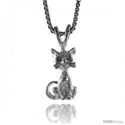 Sterling Silver Small Cat Pendant, 1/2 in Tall -Style 4p509