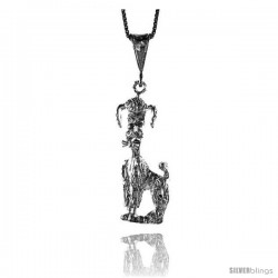 Sterling Silver Dog Pendant, 1 3/8 in Tall