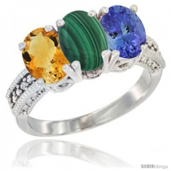 14K White Gold Natural Citrine, Malachite & Tanzanite Ring 3-Stone 7x5 mm Oval Diamond Accent