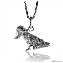 Sterling Silver Dog Pendant, 1/2 in Tall