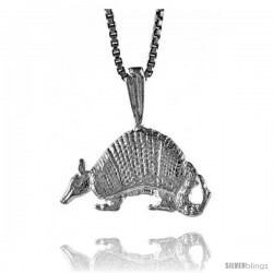 Sterling Silver Armadillo Pendant, 1/2 in Tall