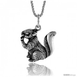 Sterling Silver Squirrel Pendant, 5/8 in Tall