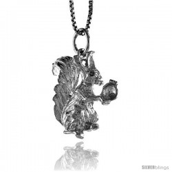 Sterling Silver Squirrel Pendant, 3/4 in Tall