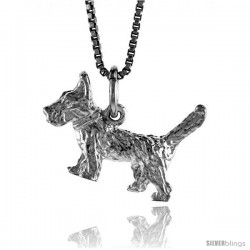 Sterling Silver Dog Pendant, 1/2 in Tall -Style 4p516