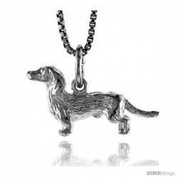 Sterling Silver Dachshunds Pendant, 3/8 in Tall