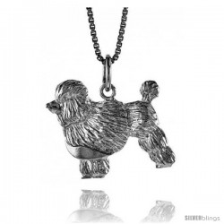 Sterling Silver Poodle Pendant, 3/4 in Tall