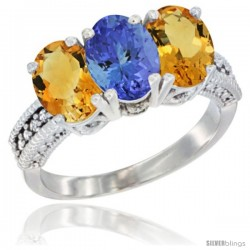 14K White Gold Natural Tanzanite & Citrine Sides Ring 3-Stone 7x5 mm Oval Diamond Accent