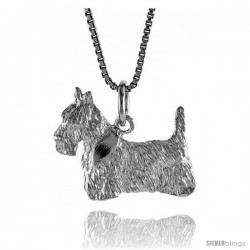 Sterling Silver Dog Pendant, 5/8 in Tall
