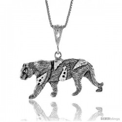 Sterling Silver Tiger Pendant, 3/4 in Tall