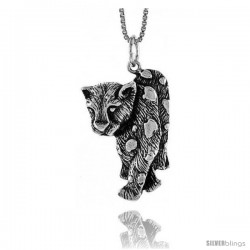 Sterling Silver Tiger Pendant, 1 3/8 in Tall