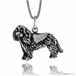 Sterling Silver Dog Pendant, 3/4 in Tall