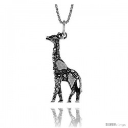 Sterling Silver Giraffe Pendant, 1 1/4 in Tall