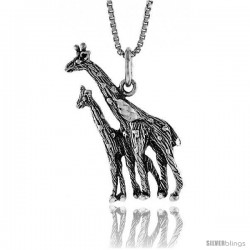 Sterling Silver Giraffe Pendant, 1 in Tall