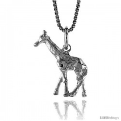 Sterling Silver Giraffe Pendant, 3/4 in Tall