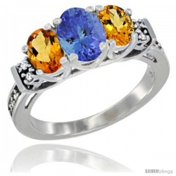 14K White Gold Natural Tanzanite & Citrine Ring 3-Stone Oval with Diamond Accent