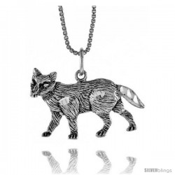 Sterling Silver Wolf Pendant, 3/4 in Tall