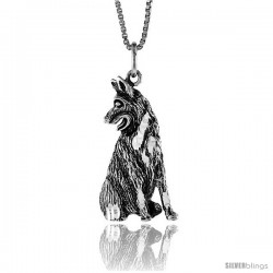 Sterling Silver German Shepherd Pendant, 1 1/16 in Tall