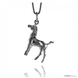 Sterling Silver Pony Pendant, 7/8 in Tall