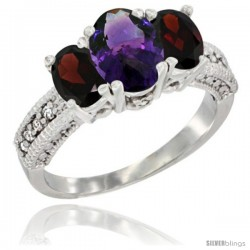 14k White Gold Ladies Oval Natural Amethyst 3-Stone Ring with Garnet Sides Diamond Accent