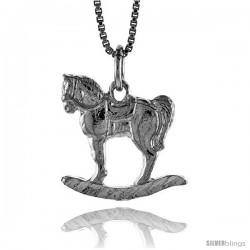 Sterling Silver Rocking Horse Pendant, 3/4 in Tall