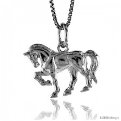 Sterling Silver Arabian Horse Pendant, 1/2 in Tall