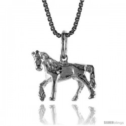 Sterling Silver Small Horse Pendant, 1/2 in Tall