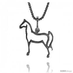 Sterling Silver Cut-out Horse Pendant, 3/4 in Tall