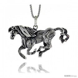 Sterling Silver Horse Pendant, 3/4 in Tall