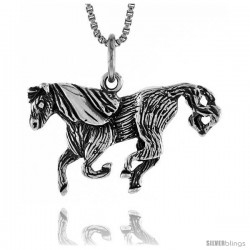 Sterling Silver Horse Pendant, 5/8 in Tall