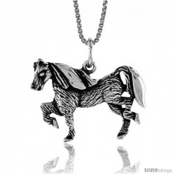 Sterling Silver Horse Pendant, 3/4 in Tall -Style 4p546