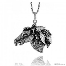 Sterling Silver Horse Head Pendant, 3/4 in Tall
