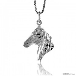 Sterling Silver Horse Head Pendant, 3/4 in Tall -Style 4p549