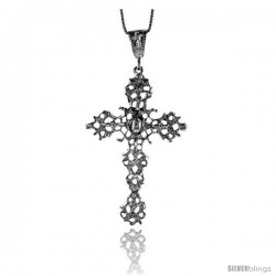 Sterling Silver Cross Pendant, 2 1/2 in