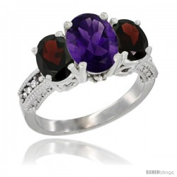 14K White Gold Ladies 3-Stone Oval Natural Amethyst Ring with Garnet Sides Diamond Accent