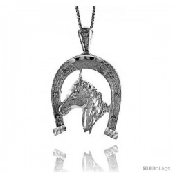 Sterling Silver Large Horse & Horseshoe Pendant, 1 1/4 in Tall