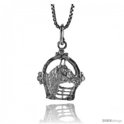 Sterling Silver Horse & Horseshoe Pendant, 1/2 in Tall