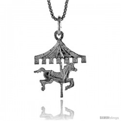 Sterling Silver Carousel Pendant, 3/4 in Tall