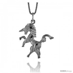 Sterling Silver Unicorn Pendant, 1 in Tall