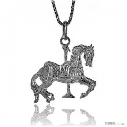 Sterling Silver Carousel Horse Pendant, 3/4 in Tall