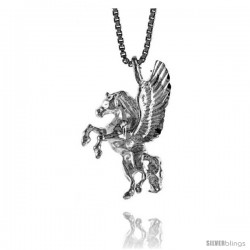 Sterling Silver Pegasus Pendant, 7/8 in Tall