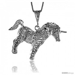 Sterling Silver Unicorn Pendant, 1 3/8 in Tall