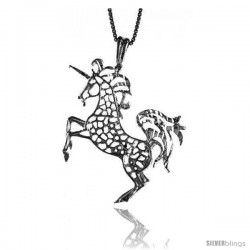 Sterling Silver Unicorn Pendant, 1 1/2 in Tall