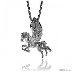 Sterling Silver Pegasus Pendant, 3/4 in Tall