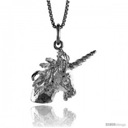 Sterling Silver Unicorn Pendant, 3/4 in Tall