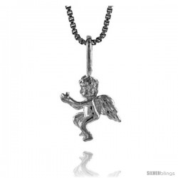 Sterling Silver Small Cupid Pendant, 1/2 in Tall -Style 4p573