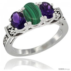 14K White Gold Natural Malachite & Amethyst Ring 3-Stone Oval with Diamond Accent