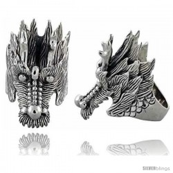 Sterling Silver Dragon's Head Gothic Biker Ring, 1 3/4 in wide