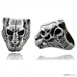 Sterling Silver Lion Gothic Biker Skull Ring, 1 1/4 in wide