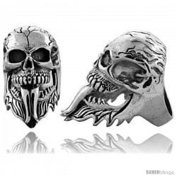 Sterling Silver Cracked Gothic Biker Skull Ring, 1 3/4 in wide