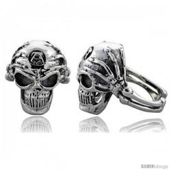 Sterling Silver Gothic Biker Skull Ring w/ Skeleton Hands, 1 in wide